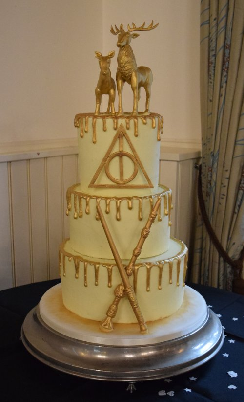 Gold Stag Harry Potter Wedding Cake Zoeu0027s Cake Studio Near Horsham West  Sussex