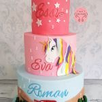 3 tier celebration cake unicorn and cars